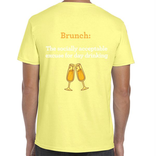 Toast! All Day Brunch Day Drinking T-Shirt (Pale Yellow) - back
