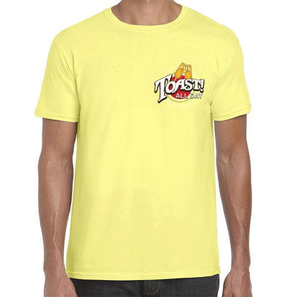 Toast! All Day Brunch Day Drinking T-Shirt (Pale Yellow) - front