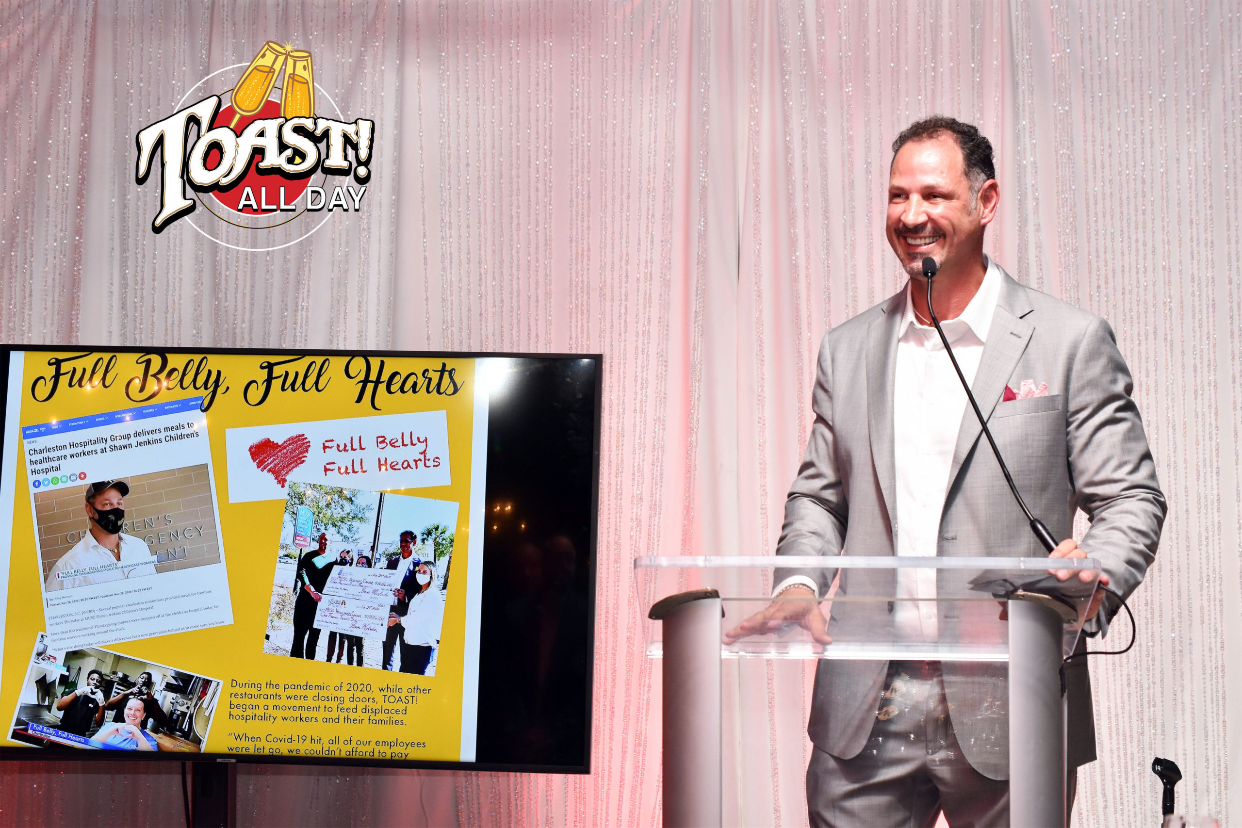 Sam Mustafa - Charleston Hospitality Group CEO - Discussing the Full Belly, Full Hearts Charitable Intiative at Toast All Day Gala 2021